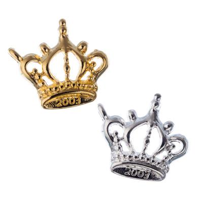 Pendente raffigurante corona color Platino e Oro 1.9x2.2 - 8 pz.
