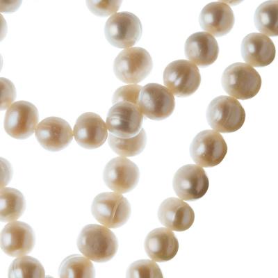 Filo di Perle d'Acqua dolce Tonde Irregolari (Potato) da 7-8 mm color Bianco