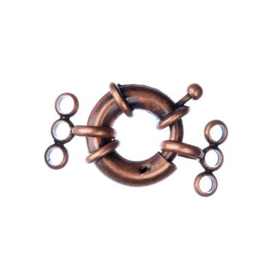 Chiusura anello in Ottone tre fili con molla color Rame diametro 1.7 cm - 1 pz.