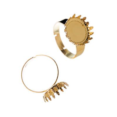 Base per Anello regolabile in ottone tonda con decorazioni color Oro diametro 1.2 cm - 1 pz.