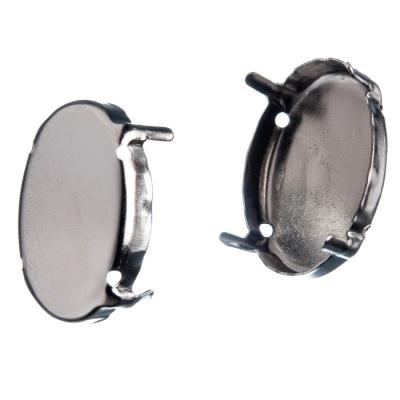 Castone ovale in Ottone, vassoio da 25x18 mm, ad artiglio color argento - 10 pz.