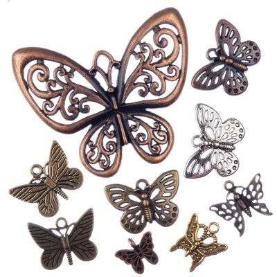 Pendenti a Farfalla in Sile Tibetano colori e misure varie (Mix) - 10 pz.