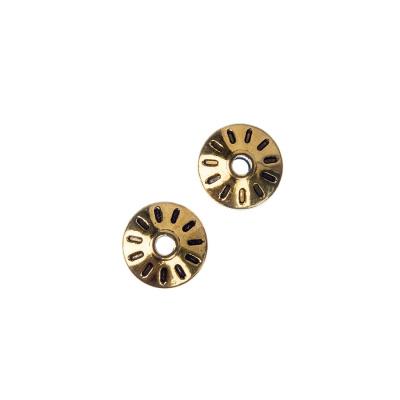 Distanziatore Biconico piatto Tibetano color Oro diametro 1 cm - 10 pz.