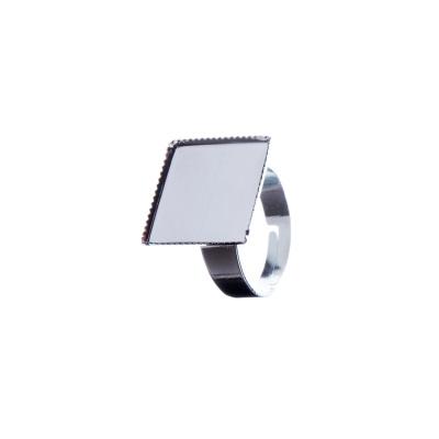 Base regolabile quadrata per Anello color Platino 1,5 cm - 1 pz.