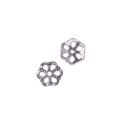 Coppetta tibetana decorata color Argento 1x1 cm - 20 pz.