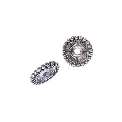 Distanziatore in stile tibetano piatto color Argento diametro 1.2 cm - 10 pz.