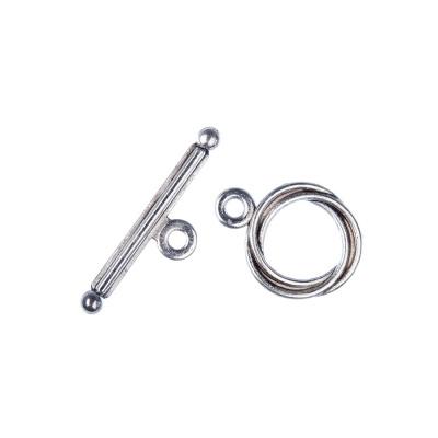 Chiusura a T color Argento diametro 1.28 lunghezza 1.7 cm- 5 pz.