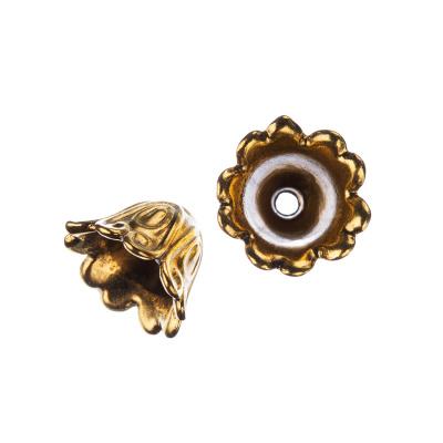 Coppetta tibetana decorata a fiore color Oro diametro 1.5 cm - 4 pz.