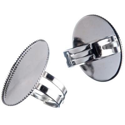 Base per Anelli regolabile in Ottone, vassoio ovale da 25x18 mm, color argento - 1 pz.