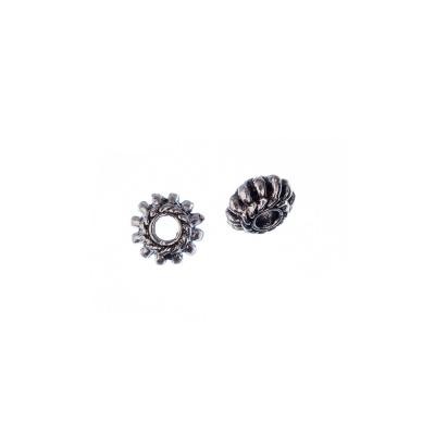 Distanziatore Tibetano a rondella dentellata color Argento diametro 0.8 cm - 10 pz.