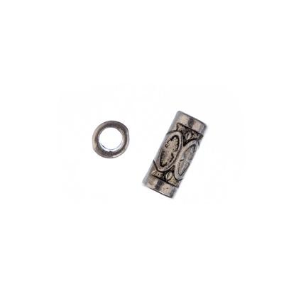 Distanziatore a tubo da 13mm in stile Tibetano color Argento - 10 pz.