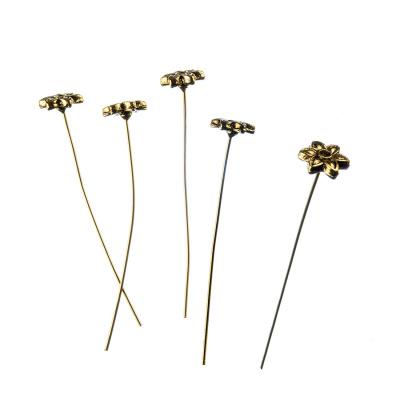 Chiodini con con perno fiore da 54 mm in Ottone color oro - 2 pz.