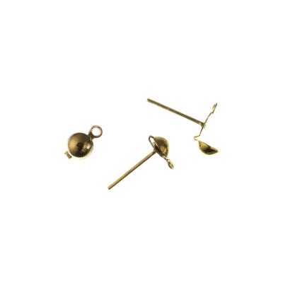 Elemento per orecchini da 13mm a spillo con mezza sfera color Oro - 20 pz.