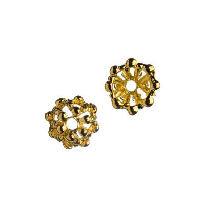 Coppetta a fiore color oro 1.1x1.0 cm - 10 pz.