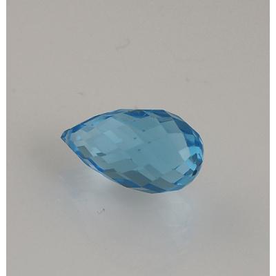 Gemma di Topazio Azzurro - Taglio Briolette - Goccia 1.0x1.89x1.0