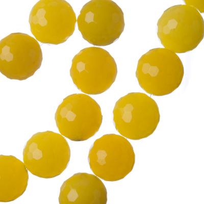 Giada Gialla - Filo di sfere sfaccettate da 12mm