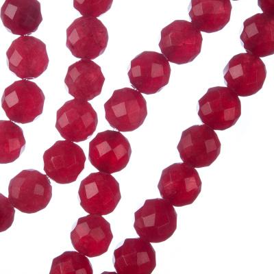 Giada Rossa - Filo di sfere sfaccettate da 8mm