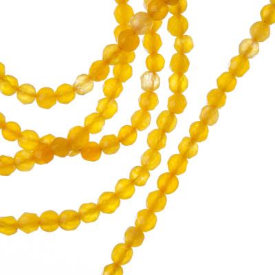 Giada Gialla - Filo di sfere sfaccettate da 4mm