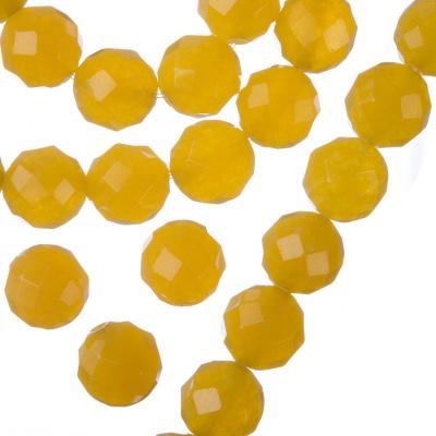 Giada Gialla - Filo di sfere sfaccettate da 10mm