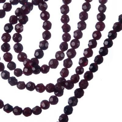 Granato - Filo di sfere sfaccettate da 4mm