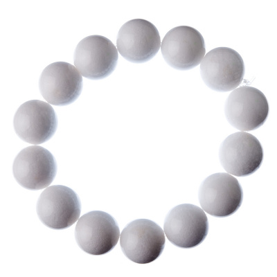 Bracciale Giada Bianca, elastico, sfere 14mm
