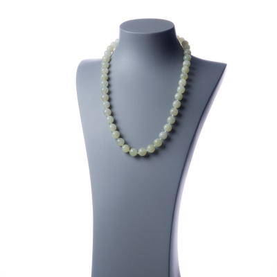 Collana lunga New Jade e Ag 925, sfere 12mm