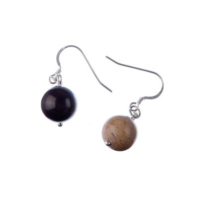 Orecchini a sfere di Mokaite 12mm e Argento 925