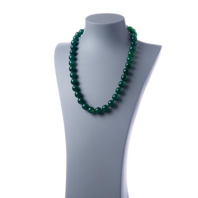 Collana lunga Agata Verde e Ag 925, sfere 14mm