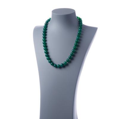 Collana lunga Agata Verde e Ag 925, sfere 12mm