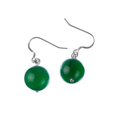 Orecchini a sfere di Agata Verde 14mm e Argento 925