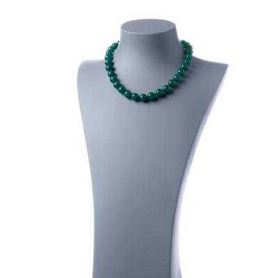Collana corta Agata Verde e Ag 925, sfere 12mm