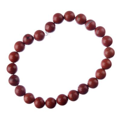 Bracciale Diaspro Rosso, elastico, sfere 8mm
