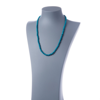 Collana lunga Turchese e Ag 925, sfere 6mm