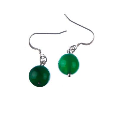 Orecchini a sfere di Agata Verde 12mm e Argento 925