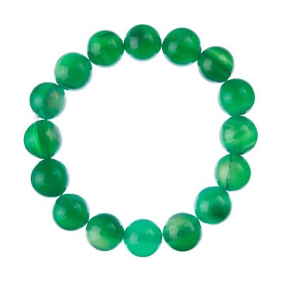 Bracciale Agata Verde, elastico, sfere 12mm