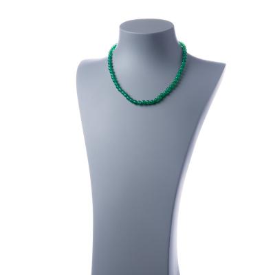 Collana corta Agata Verde e Ag 925, sfere 6mm