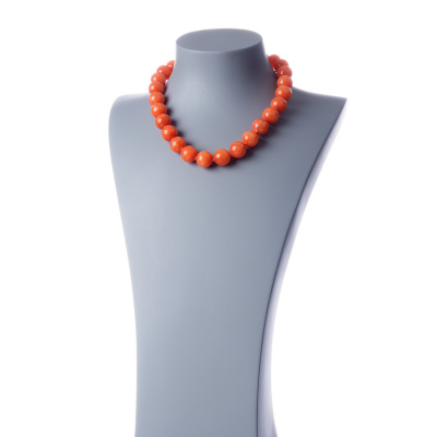 Collana corta Giada Arancio e Ag 925, sfere 16mm