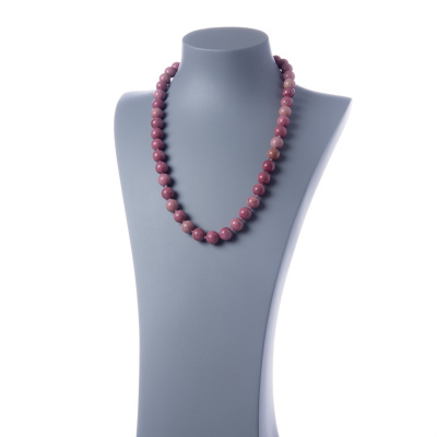 Collana lunga Rodonite e Ag 925, sfere 12mm