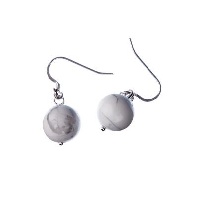 Orecchini a sfere di Howlite 12mm e Argento 925
