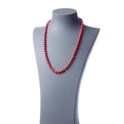 Collana lunga Corallo Bambù Rosa e Ag 925, sfere 8mm