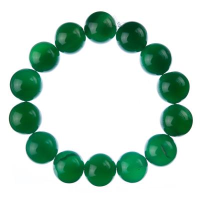 Bracciale Agata Verde, elastico, sfere 14mm