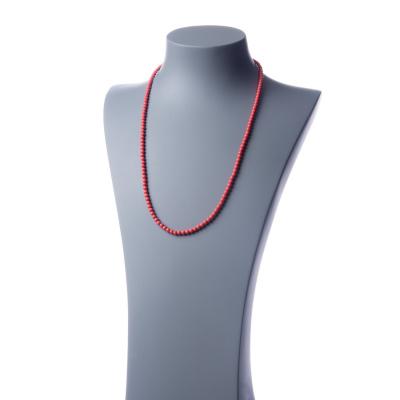 Collana lunga Corallo Bambù Rosa e Ag 925, sfere 4mm