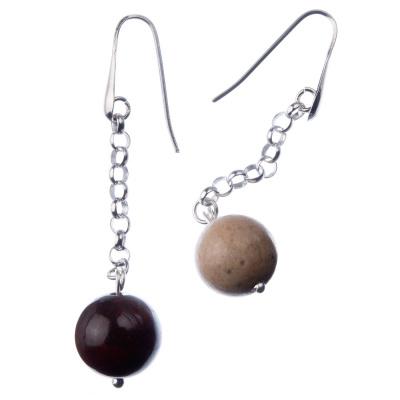 Orecchini pendenti a sfere di Mokaite 14mm e Argento 925 Rodiato