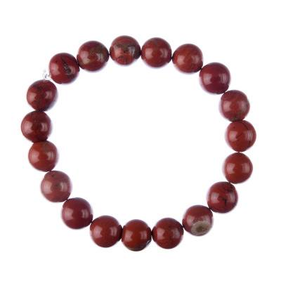 Bracciale Diaspro Rosso, elastico, sfere 10mm