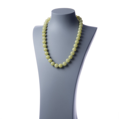 Collana lunga New Jade e Ag 925, sfere 14mm