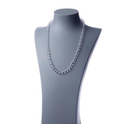 Collana lunga Cristallo di Rocca e Ag 925, sfere 8mm
