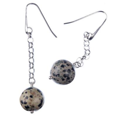 Orecchini pendenti a sfere di Diaspro Dalmata 14mm e Argento 925 Rodiato