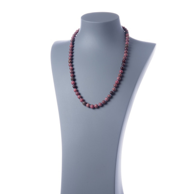 Collana lunga Rodonite e Ag 925, sfere 8mm