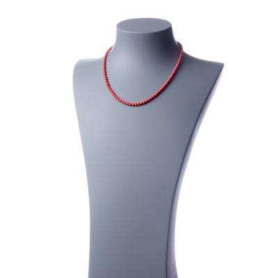 Collana corta Corallo Bambù Rosa e Ag 925, sfere 4mm
