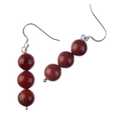 Orecchini a sfere di Diaspro Rosso 10mm e Argento 925